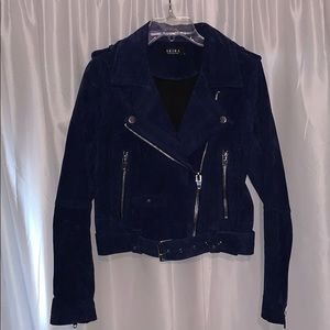 Akira suede navy biker jacket